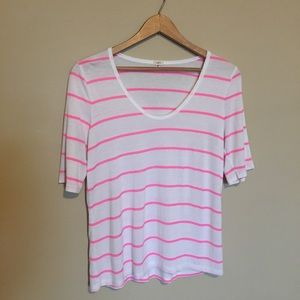 J. Crew Factory Pink & White Striped Tee
